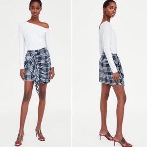 ZARA Woman Plaid Gathered Ruffle Mini Skirt XS